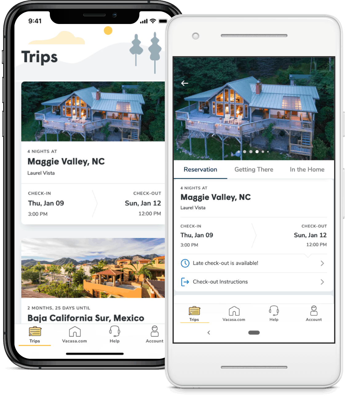 The Vacasa trip app. Available for both iOS and Android devices.