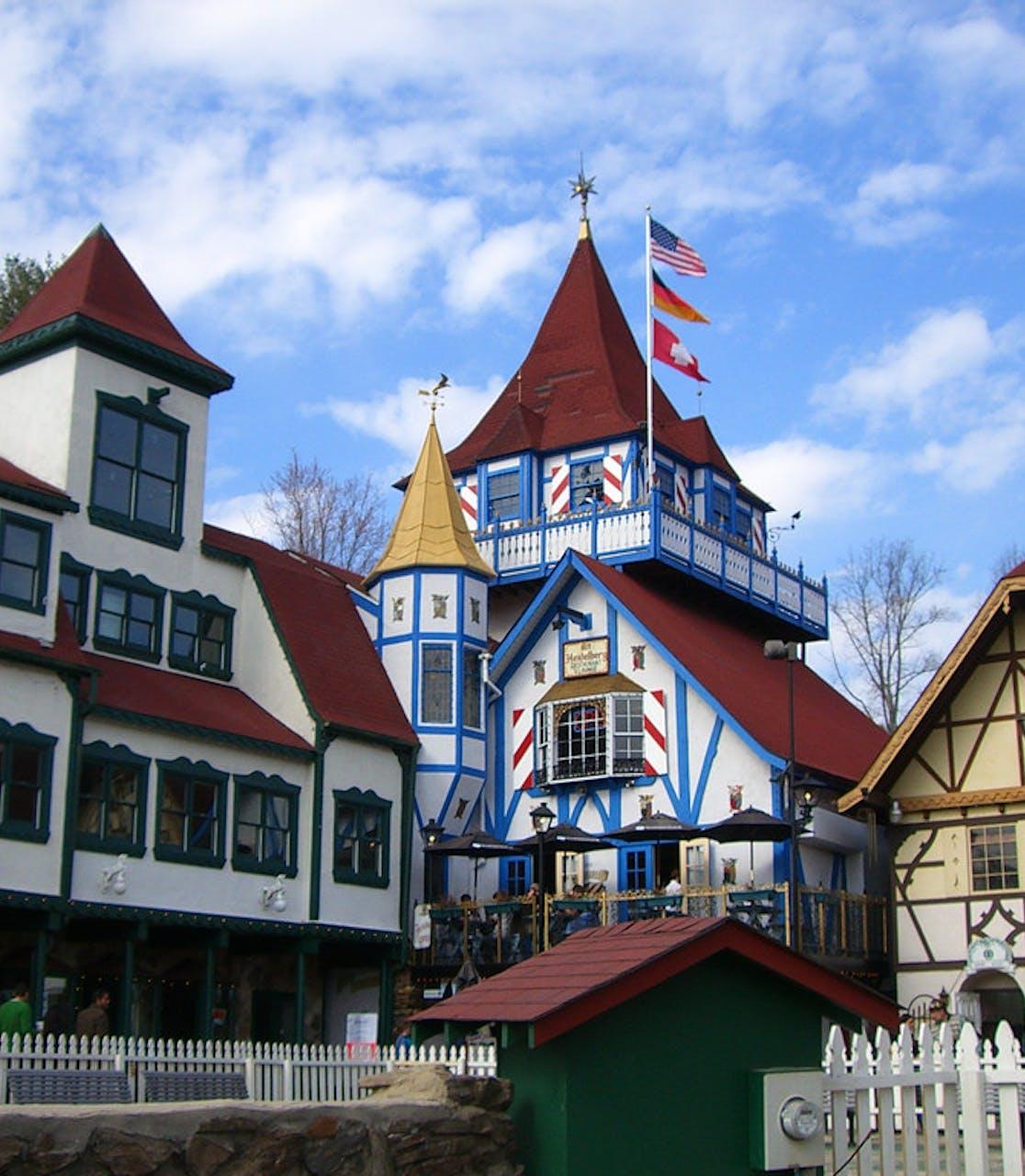 bavarian style buildings in downtown Helen, GA