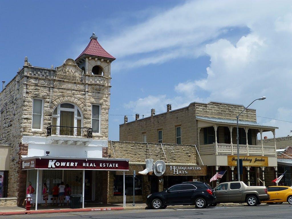Haupstrasse in downtown Fredericksburg, Texas