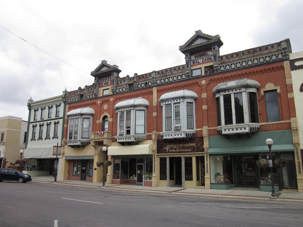 shops on main street in New Ulm, Minnesota