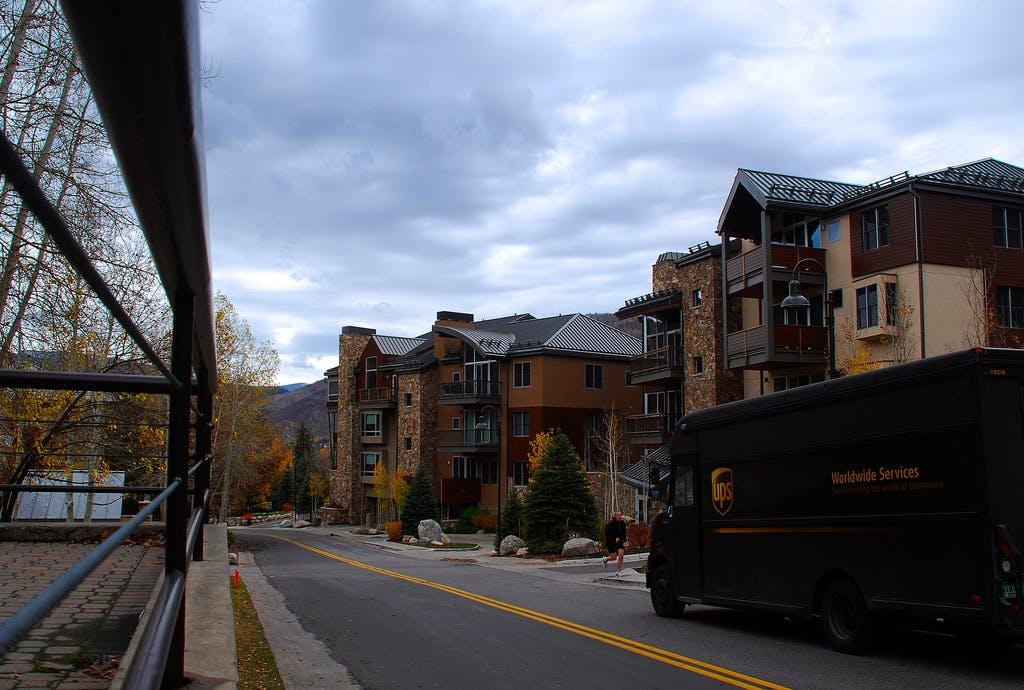 a street view of condo buildings in Vail, Colorado