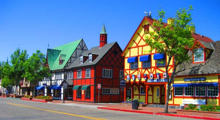 a colorful array of bright building in downtown Solvang, California