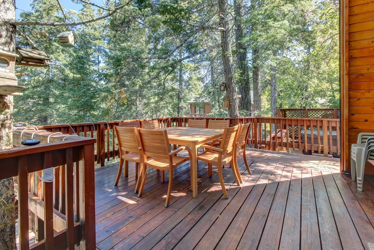 Wooded views from deck of Big Bear, CA vacation rental