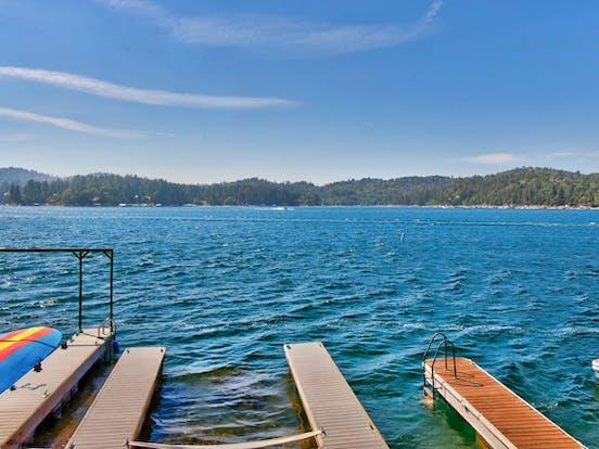 docks on big bear lake on a windy day
