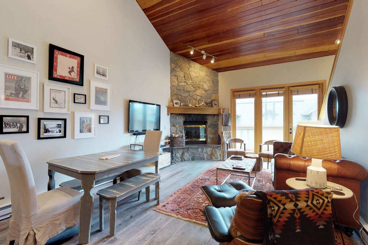 the living room of a vacasa condo in big sky, montana
