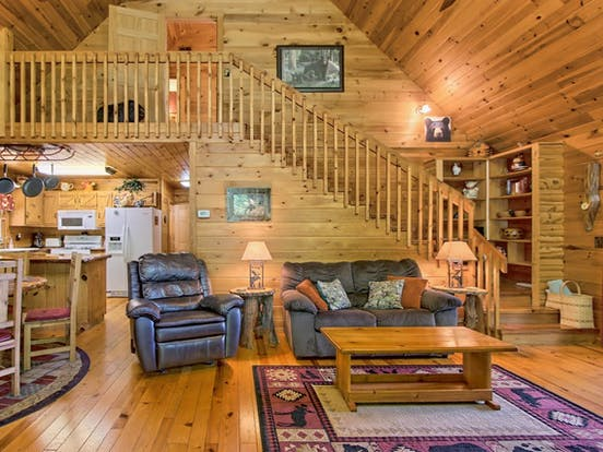 Two-story vacation cabin in the Blue Ridge Mountains