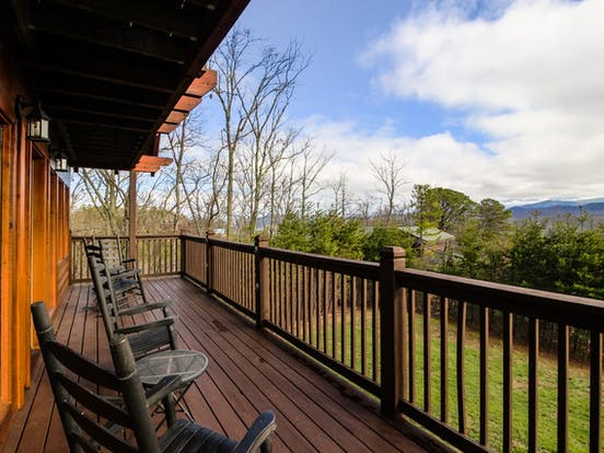 View of Blue Ridge Mountains from deck of vacation rental