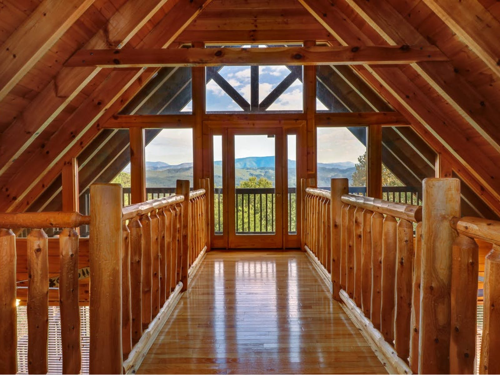 View from inside a Blue Ridge Mountains a-frame cabin rental