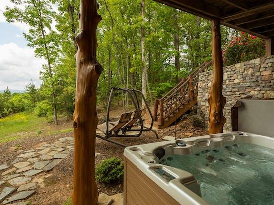 hot tub with blue ridge mountain views