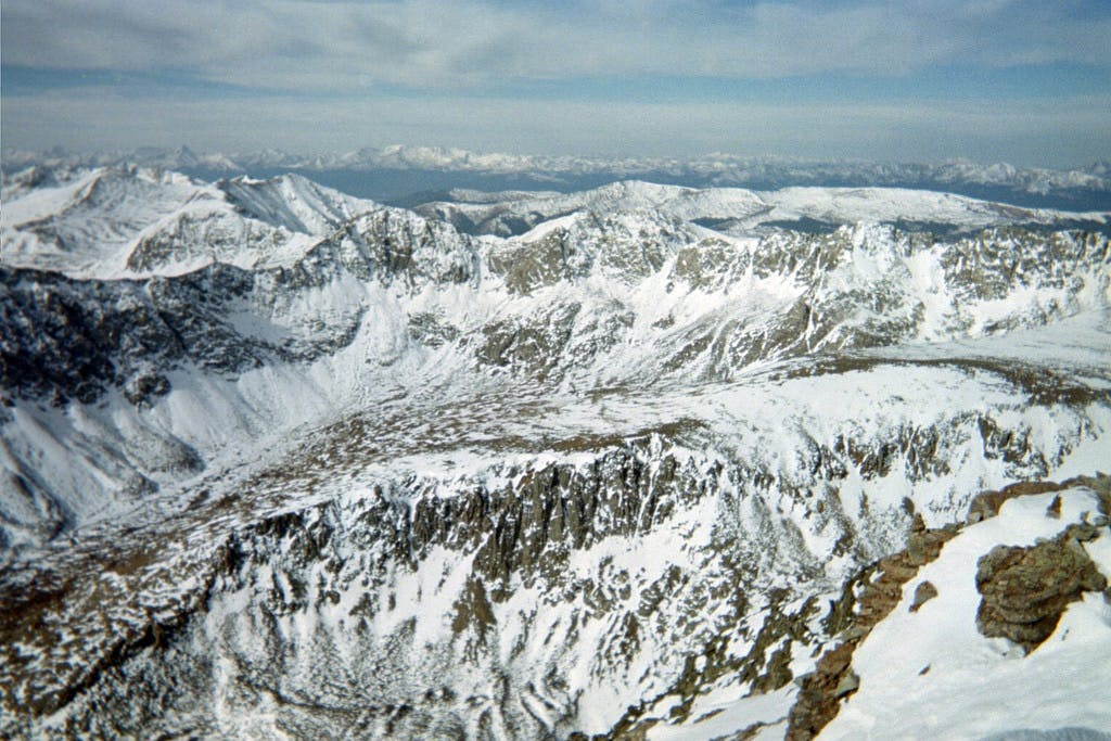 a view from the top of Quandary Peak summit on a winter day