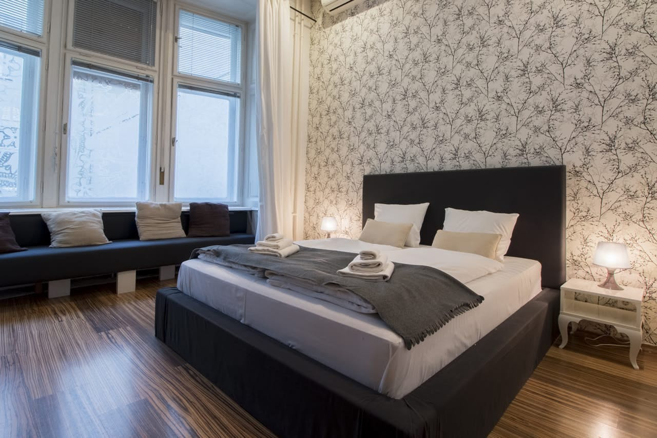 bedroom of apartment rental in budapest