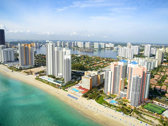 aerial shot of miami, fl
