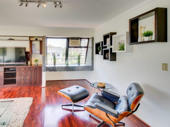 Santiago apartment rental with wood floors and minimalist decor
