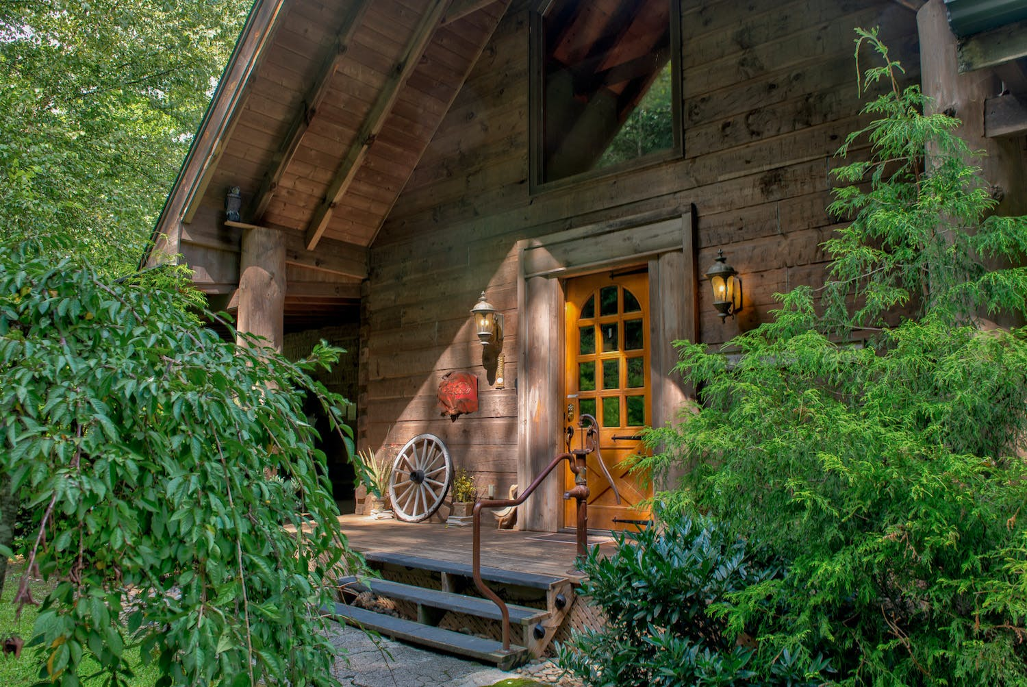 a well taken care of cabin in the woods