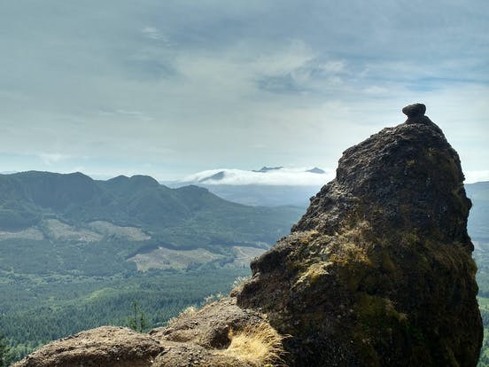 a carrion placed at the top of Saddle Mountain