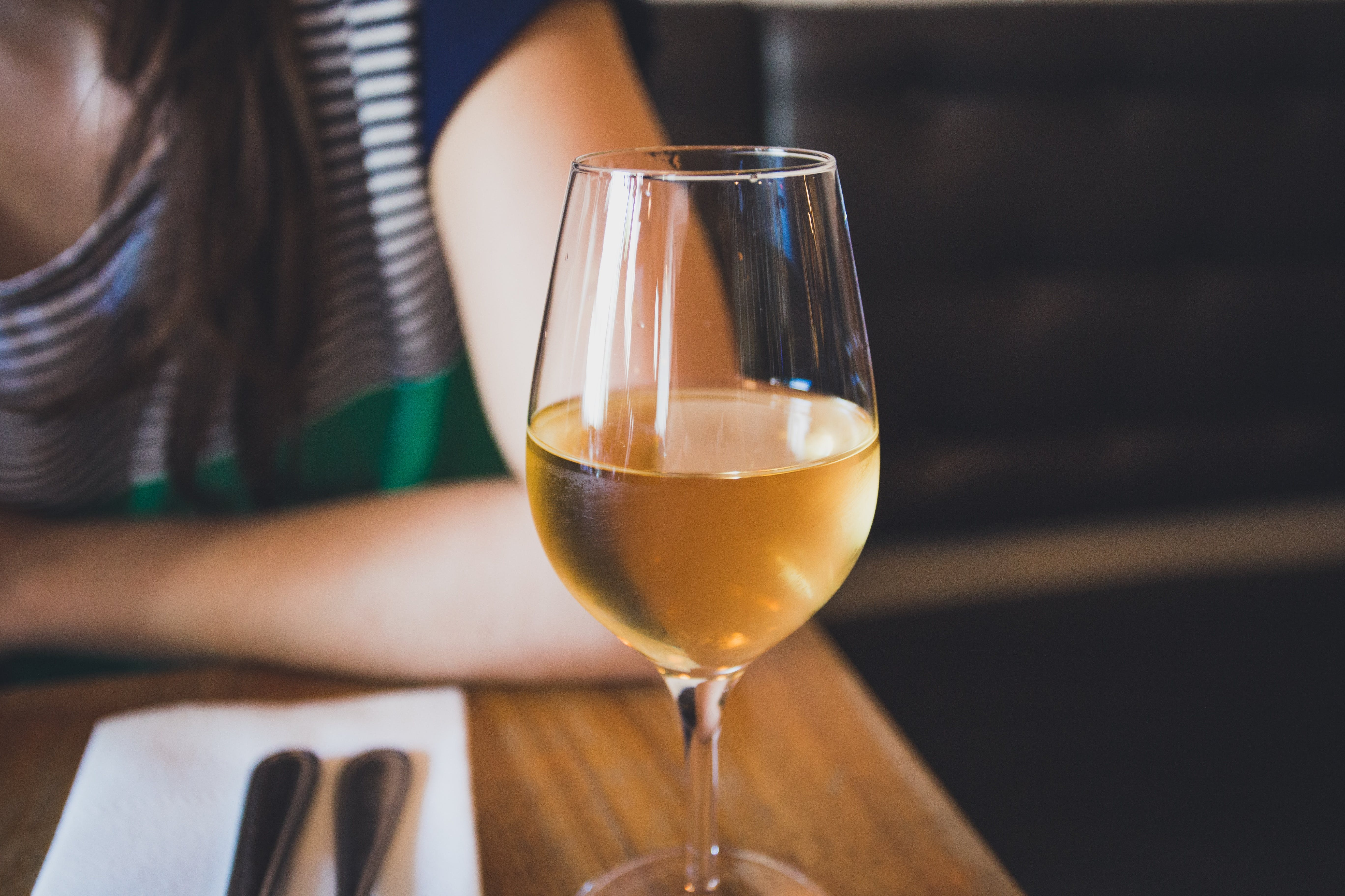 a glass of white wine on a table