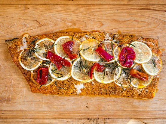 Baked Salmon with Chili, Lemon & Rosemary made by chef gabriel