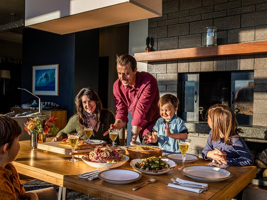 chef gabriel rucker and family at the dinner table