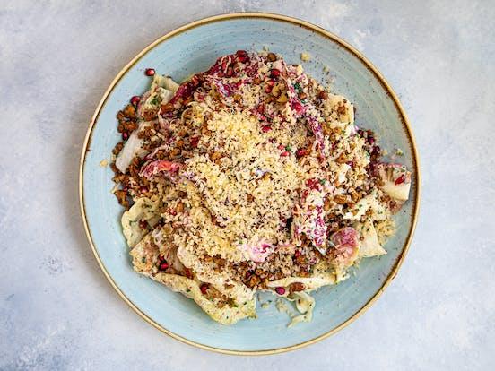 prepared plate of radicchio salad by chef gabriel