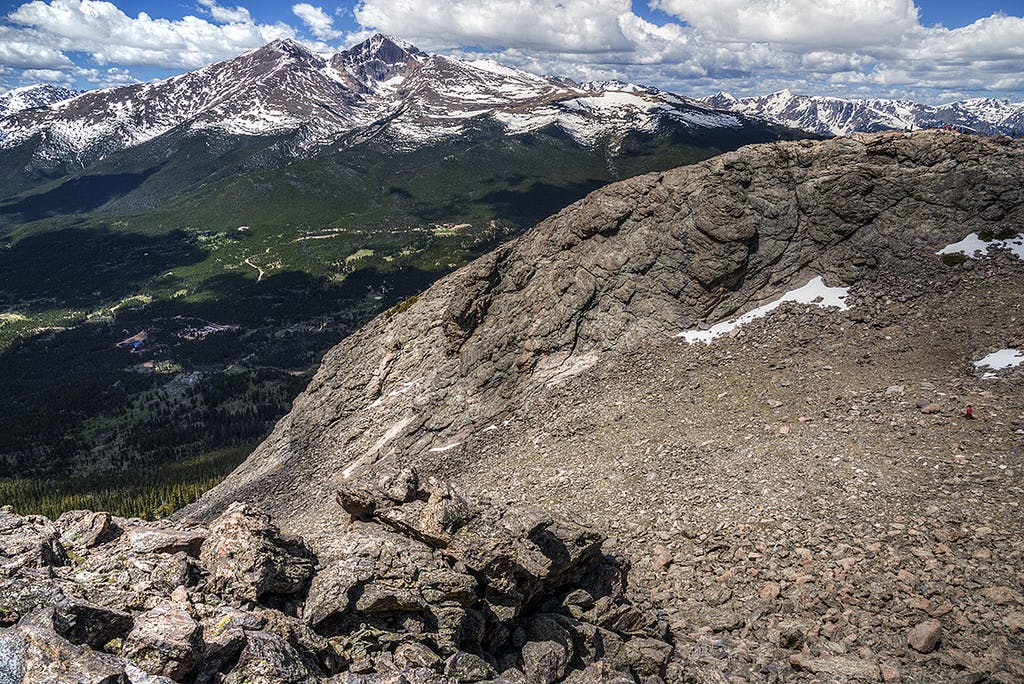 A view of the surrounding landscape from the top of Longs Peak