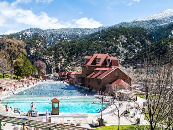 Beautiful view of Glenwood Hot Springs located in Summit County, Colorado