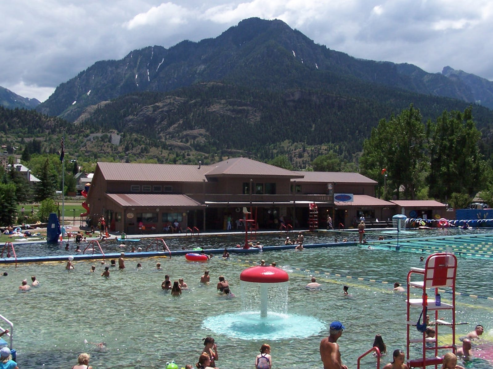 Ouray Hot Springs with views of the San Juan Mountains near Telluride, Colorado