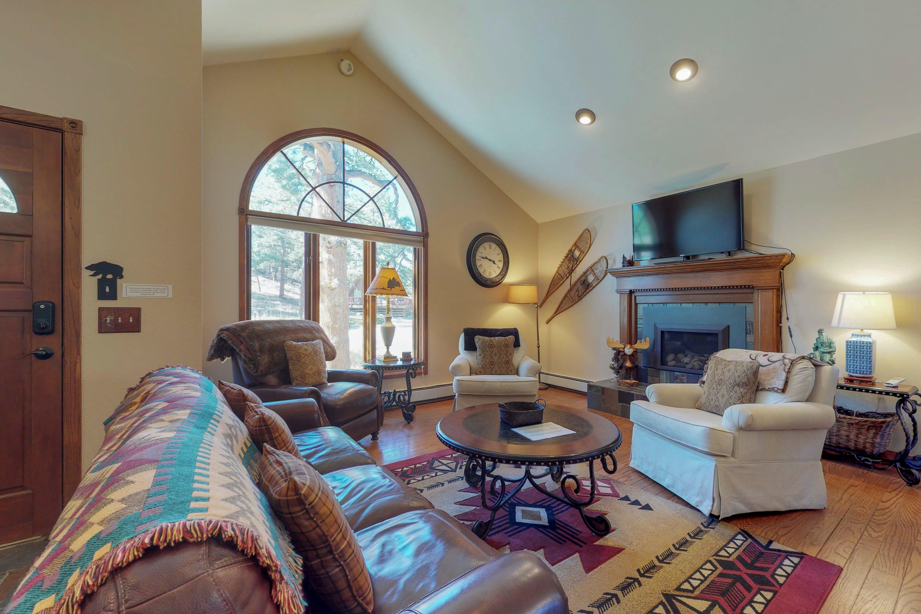 Cozy living room inside Estes Park, CO vacation rental