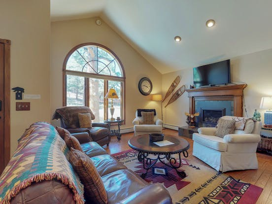 Cozy living room inside Estes Park, CO vacation rental