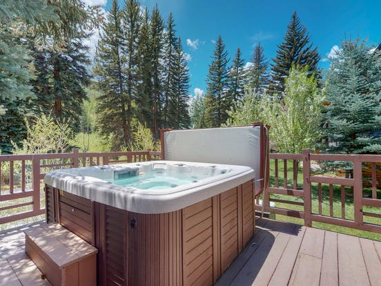 Private hot tub with beautiful Vail, Colorado forest view