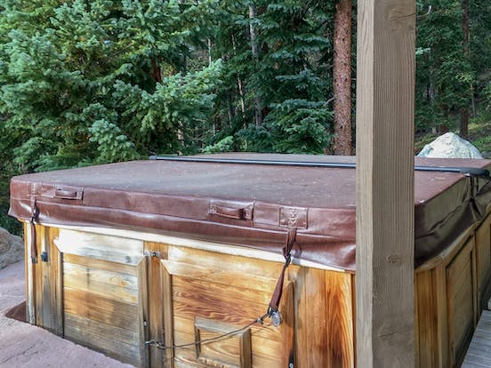 Private hot tub at The Wagon Road Lodge in Breckenridge, CO