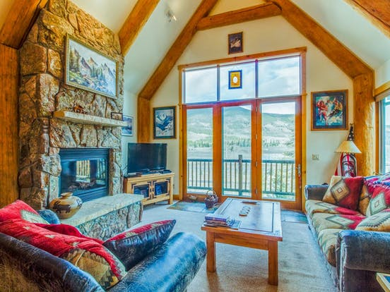 Enjoy amazing views of Dillon, CO from inside Treehouse Town Home vacation cabin rental