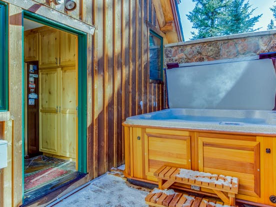 Private hot tub at Treehouse Townhome located in Dillon, CO