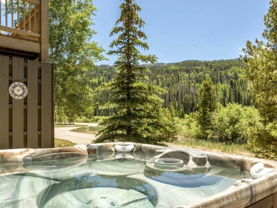 Private hot tub with amazing views at Campfire Mountain Home #9 vacation rental in Keystone, CO
