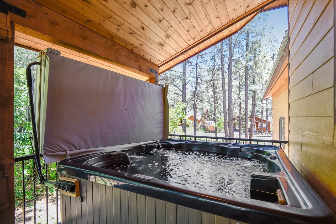 Private hot tub at Enchanted Place 18 located in Pagosa Springs, CO