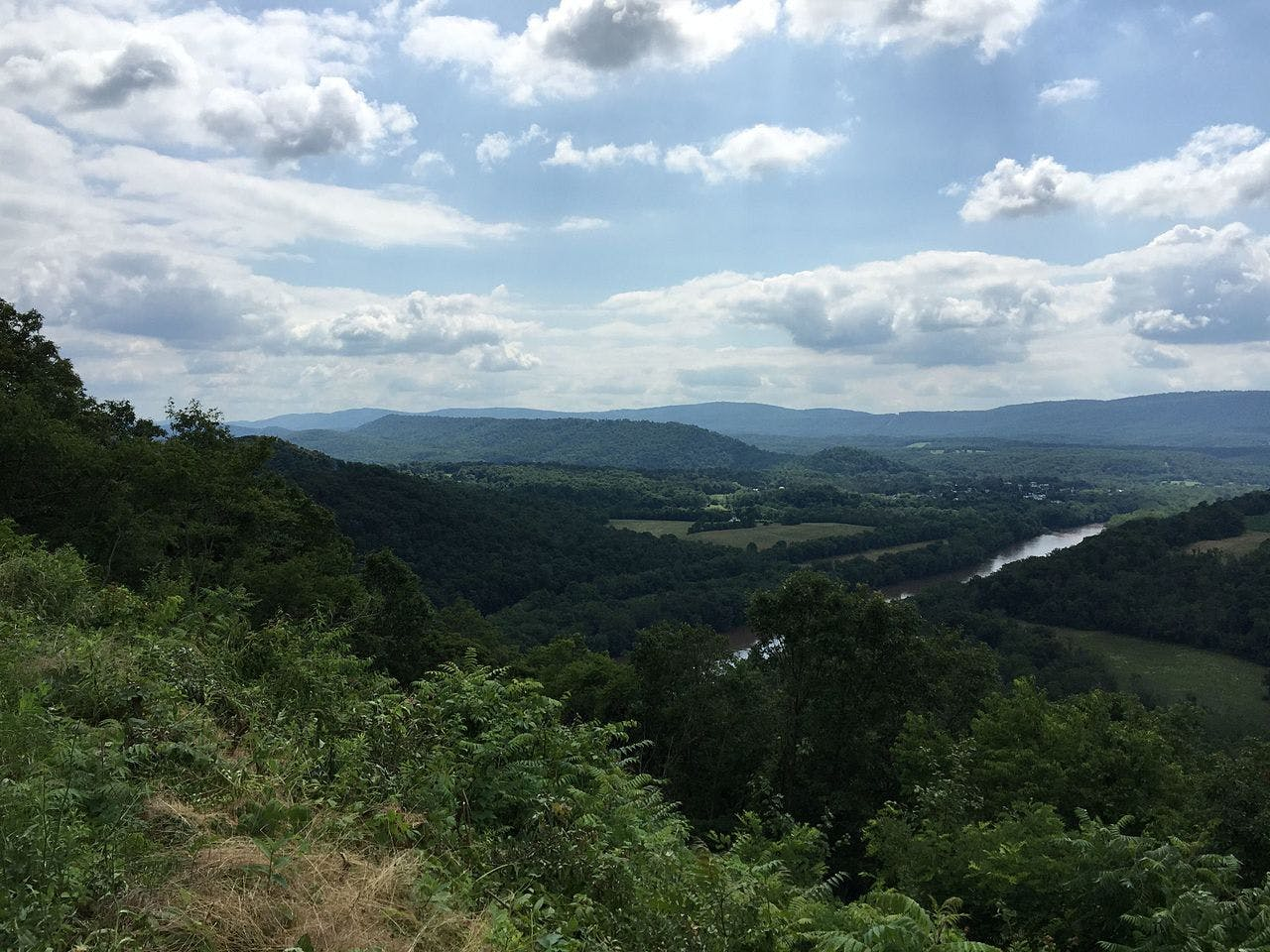 View of the Potomac River from the top of a hill