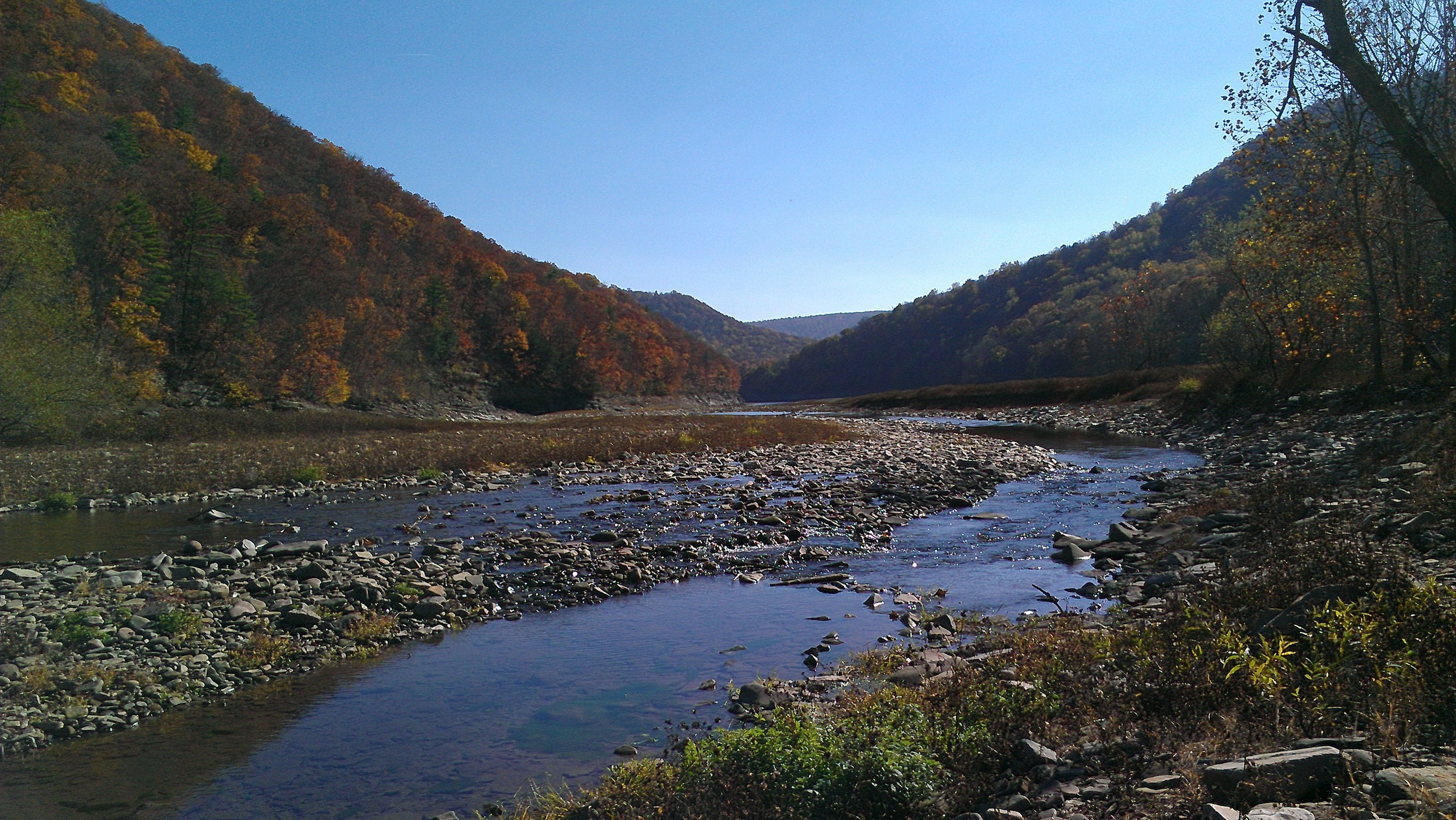 the Savage River in Maryland on a sunny fall day