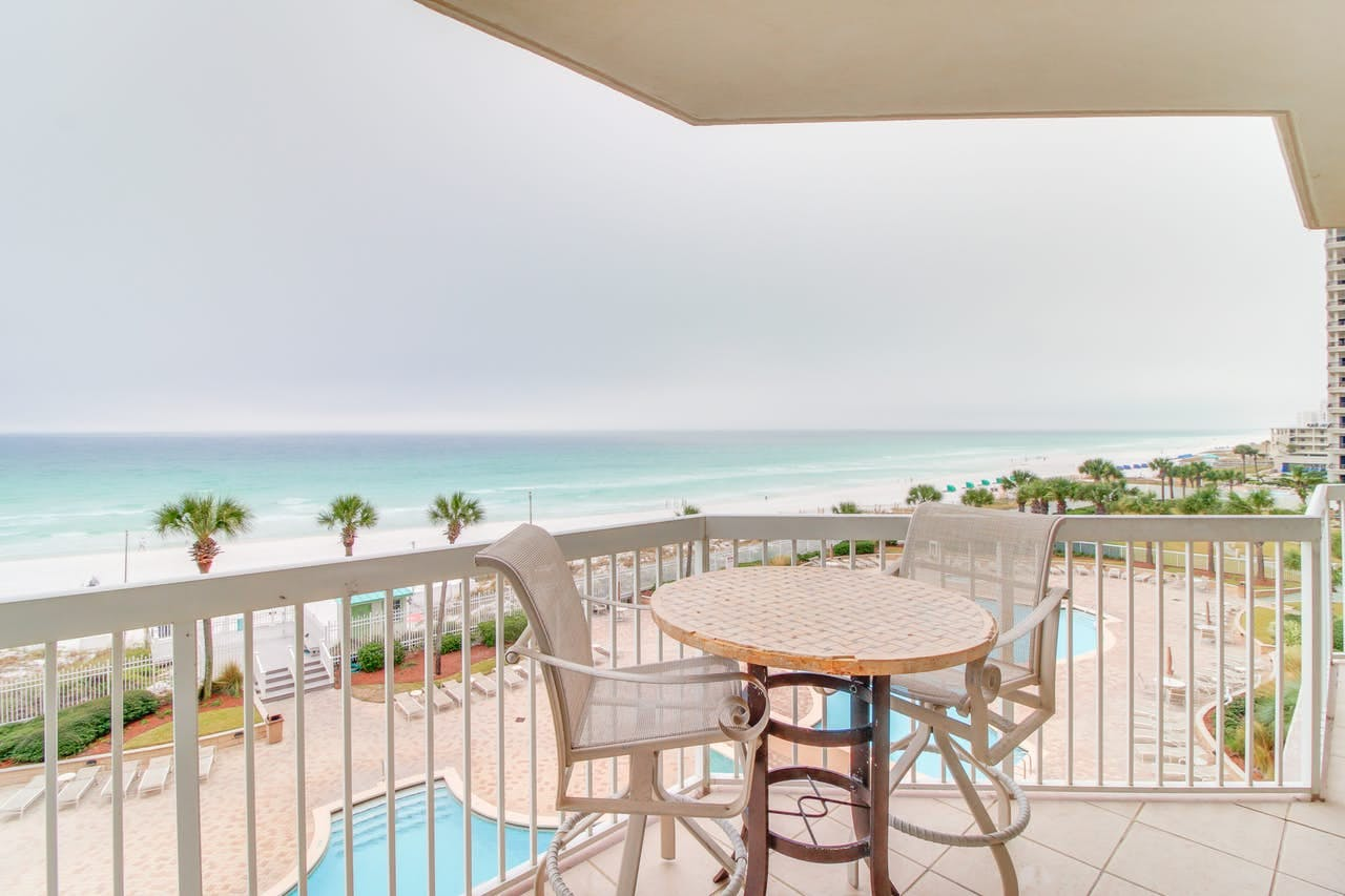 Balcony of vacation rental in Destin with ocean views