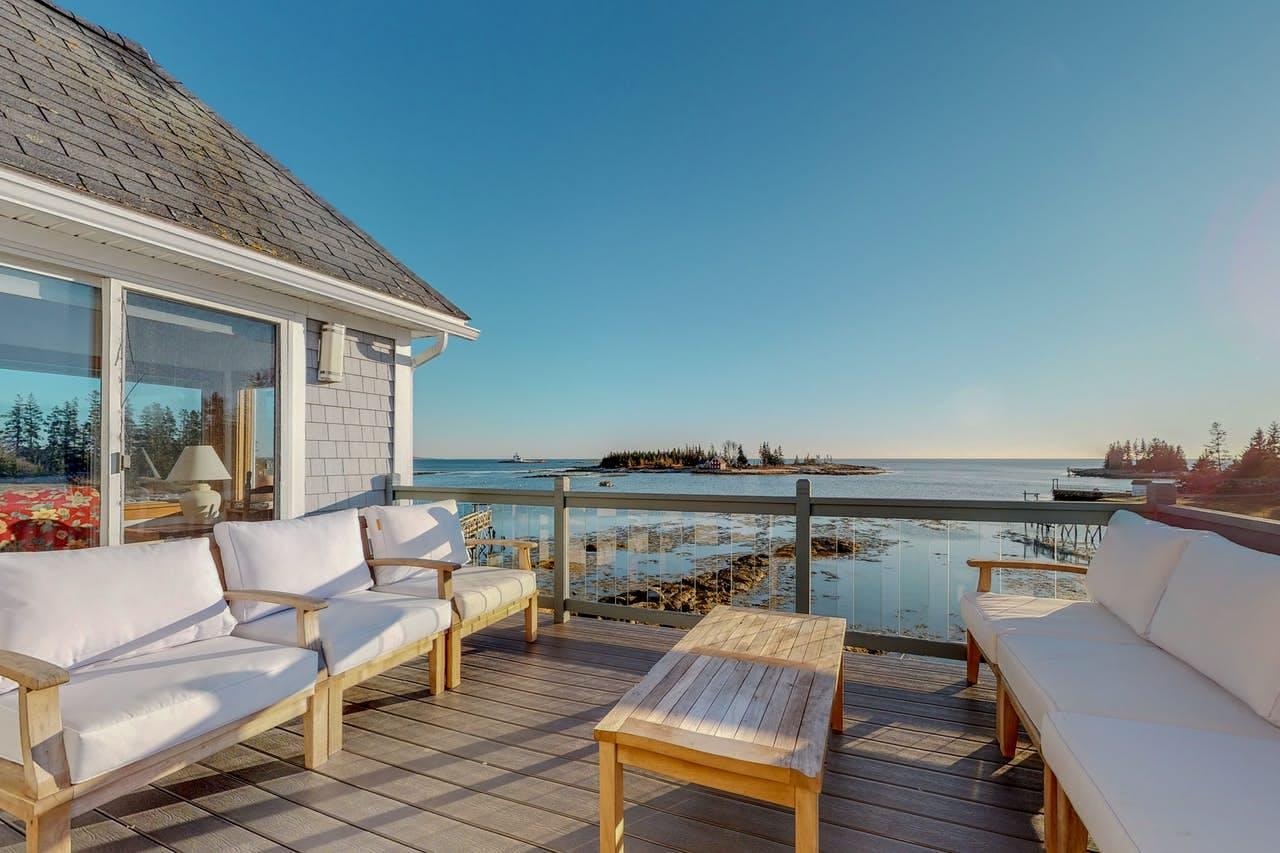 Deck overlooking Cape Harbor, Cape Island, and the Atlantic Ocean