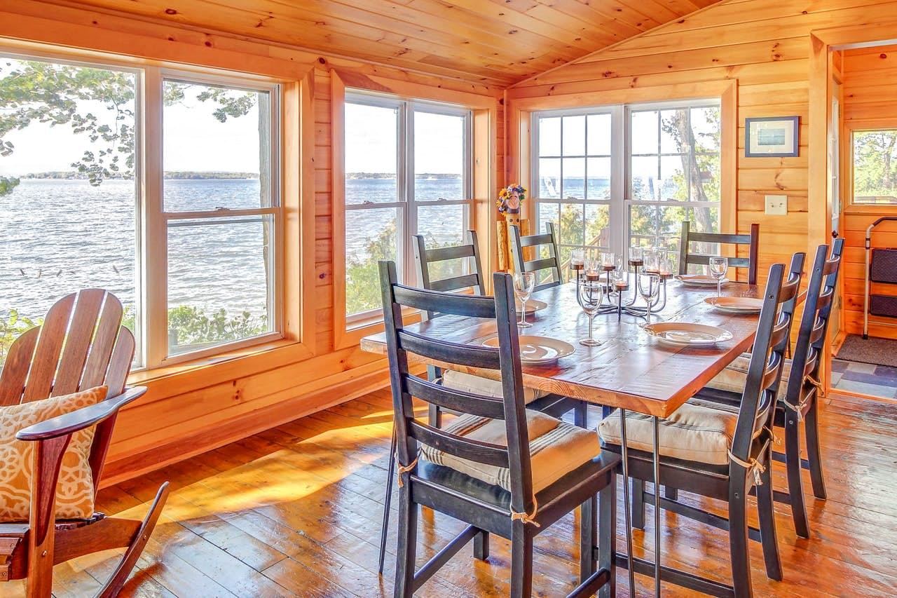 Dining area of Lake Champlain vacation rental with picturesque views