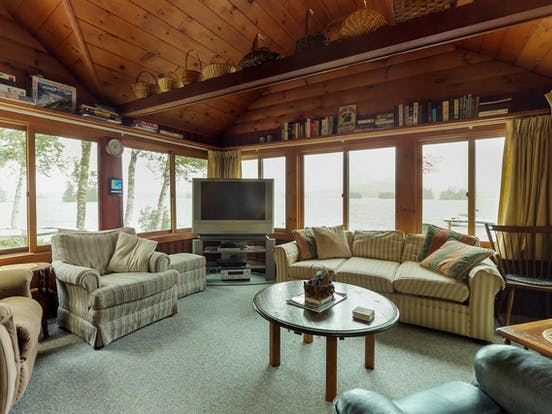 Interior of Moosehead Lake vacation cabin