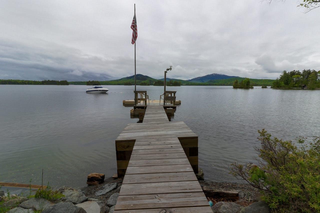 Dock of Moosehead Lake vacation cabin