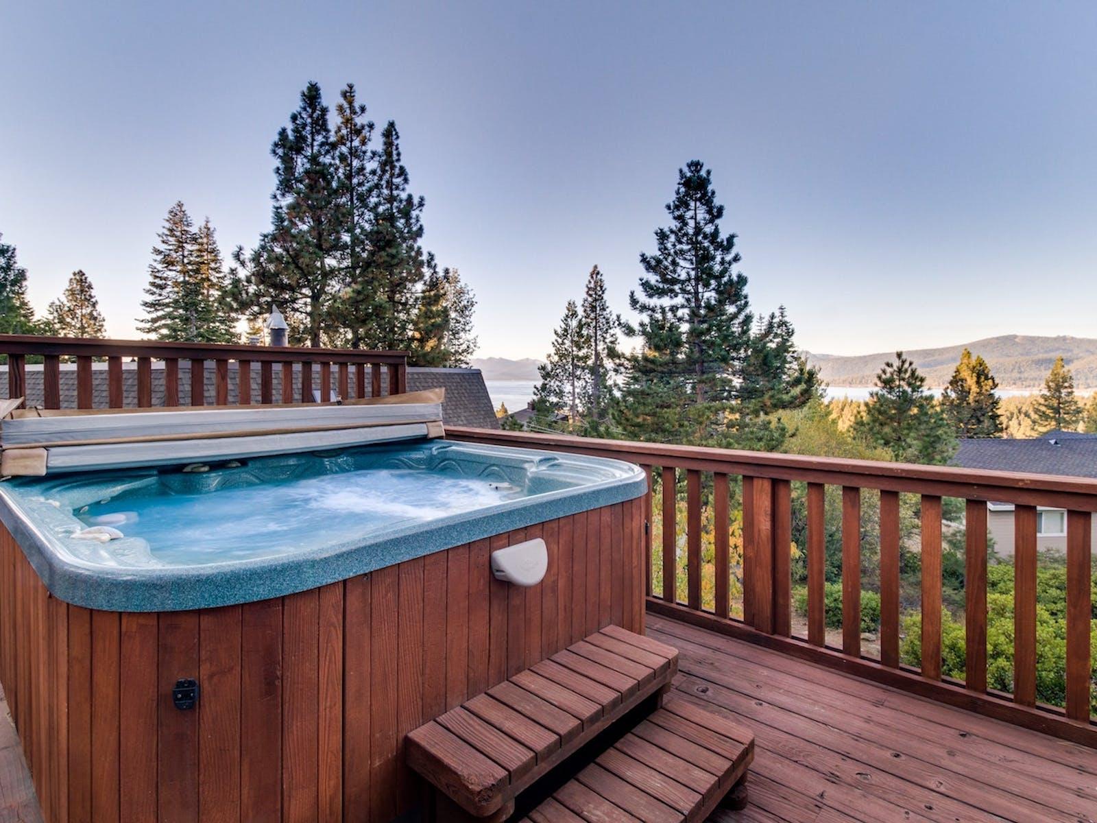 hot tub overlooking lake tahoe