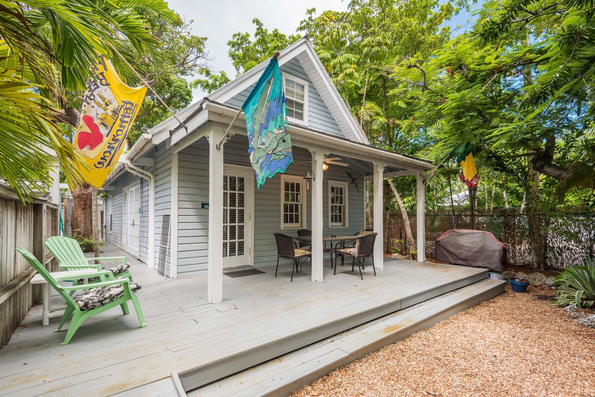 outside deck of a cottage in key west