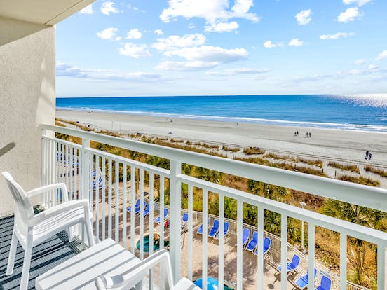 Balcony of North Myrtle Beach oceanfront vacation rental