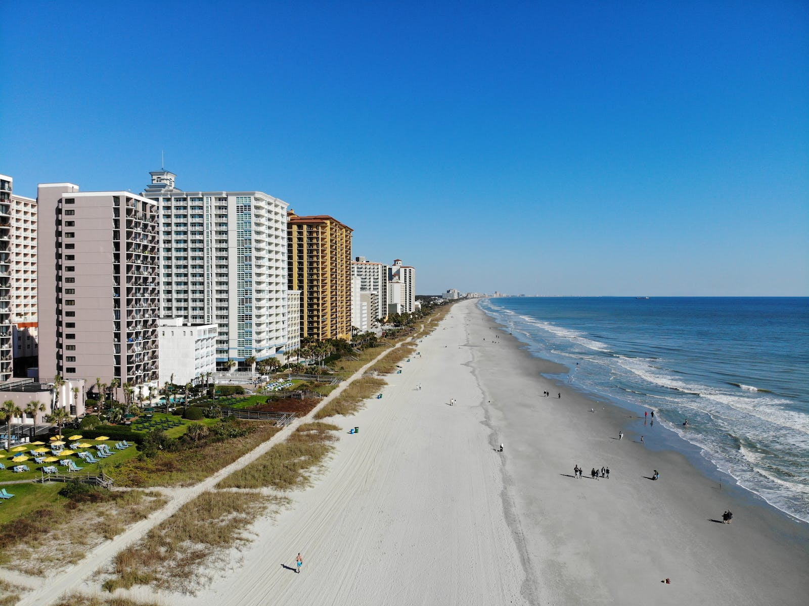 View of several oceanfront beach resorts in Myrtle Beach, SC