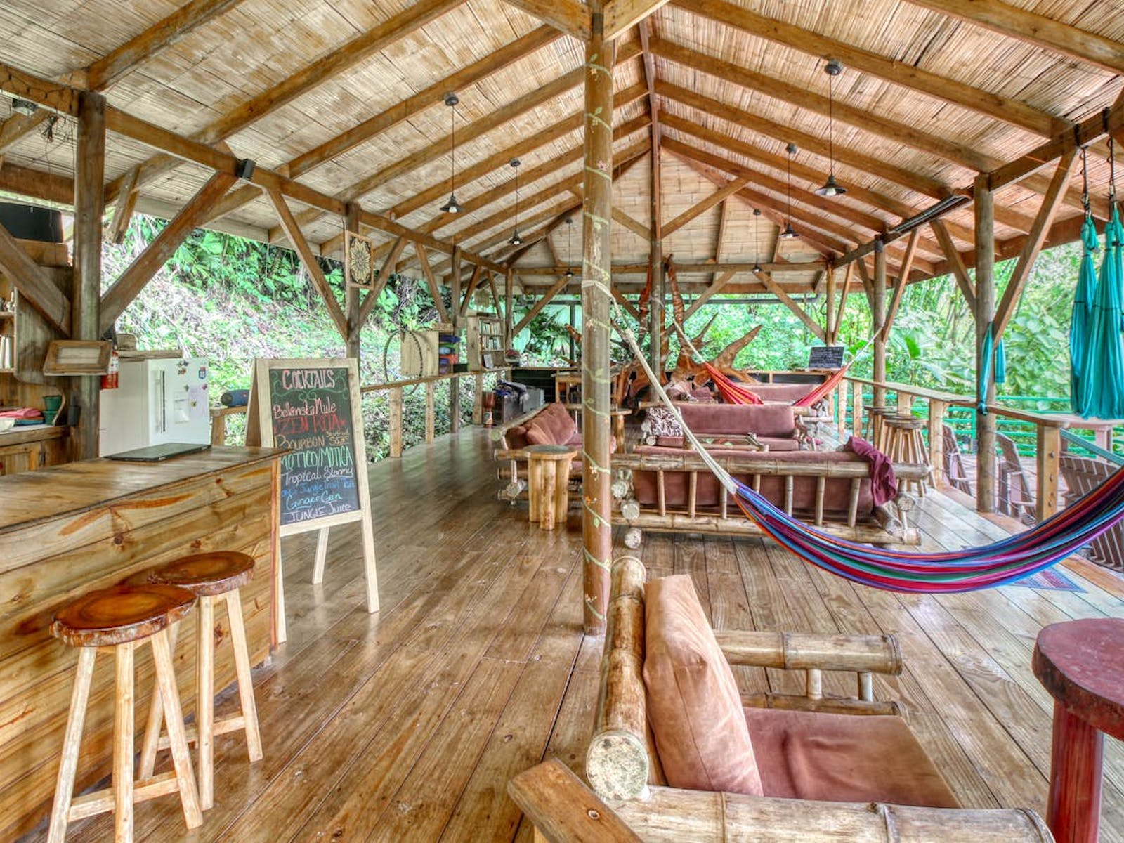 Interior of a Costa Rican treehouse vacation rental