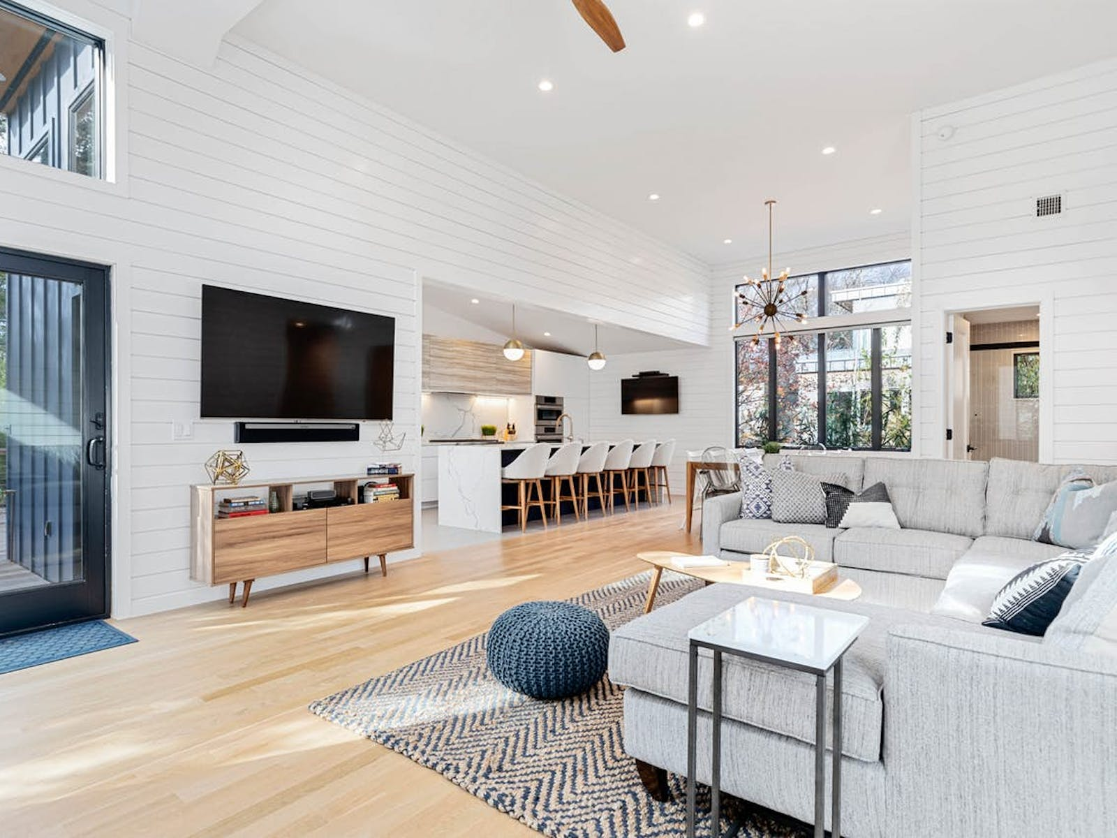 light and airy interior of Fire Island, NY vacation rental home