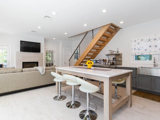 vacation rental kitchen and living space located in Fire Island, NY