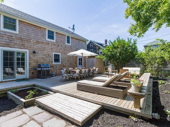 Back deck of Fire Island vacation rental