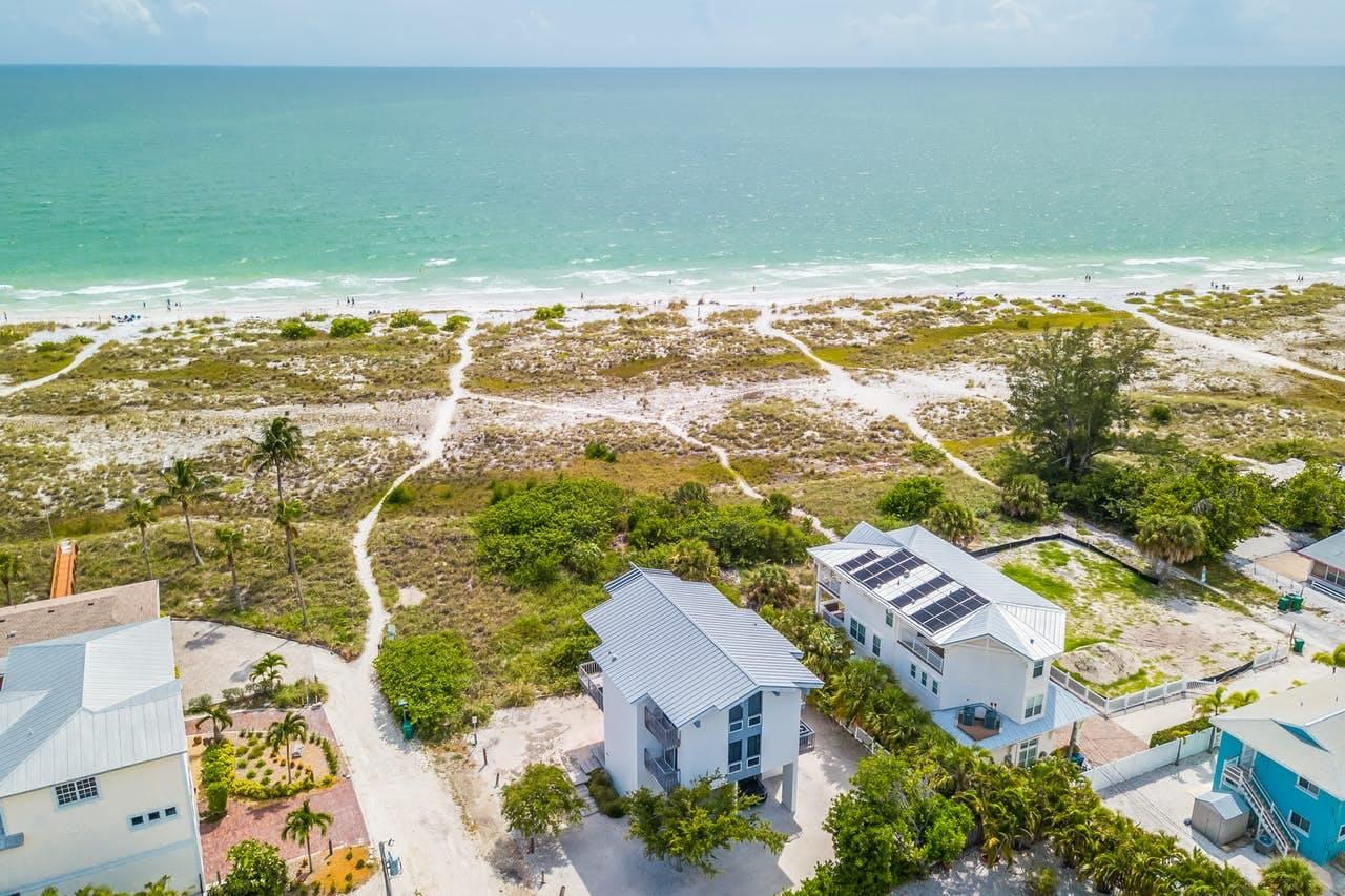Aerial view of Anna Maria, FL ocean and beaches
